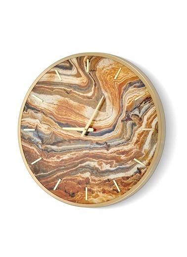 The Mia Duvar Saati Marble -  Bej 60x60 cm Bej